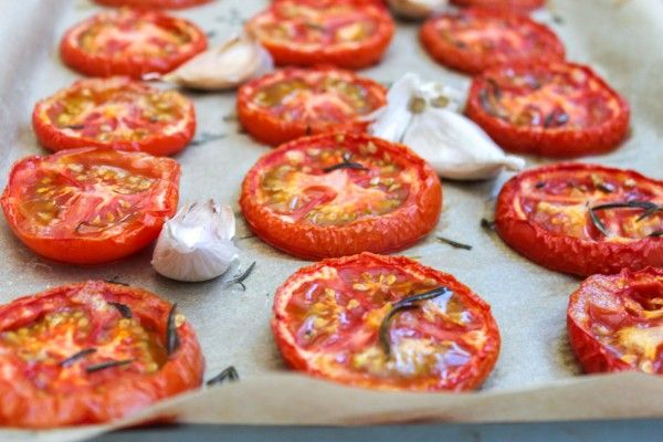 Slow Roasted Tomatoes with Garlic and Rosemary