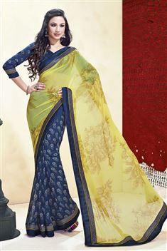 Printed Jai Ho Yellow Saree
