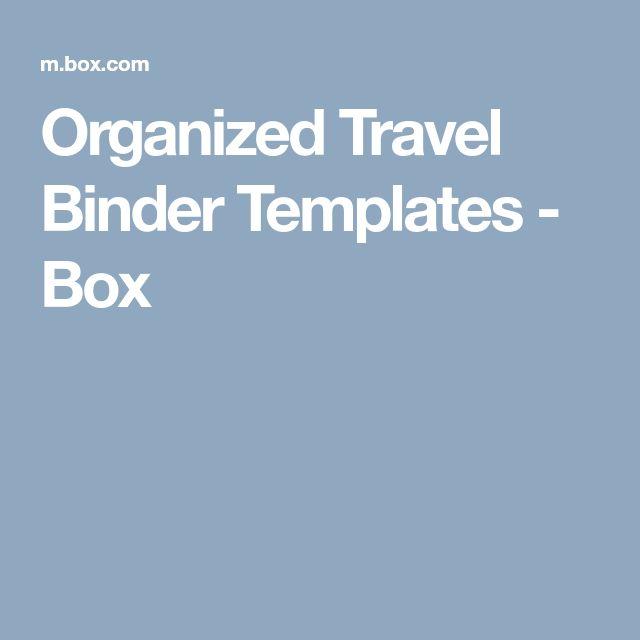 Organized Travel Binder Templates - Box