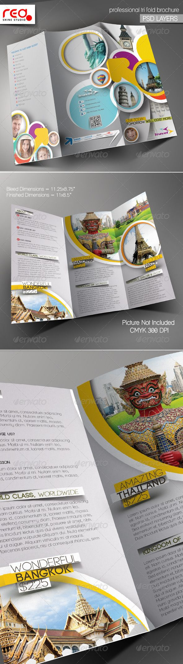 Travel Agency Trifold Brochure Template #GraphicRiver SPECIFICATION Trifold Brochure Template is 8 by 11 in (8.75 in by 11.25 in with bleeds) and is ready for print, because it's in CMYK at 300 dpi. The psd file can be edited in Photoshop, and to be simple able to change the text. 2 Layered Photoshop file in zip folders with editable text and Simple to Customize. replace colours, text, add images your logos, etc. Help file included Font Info :- Font Name :- Lane, signika, Code social-logos…