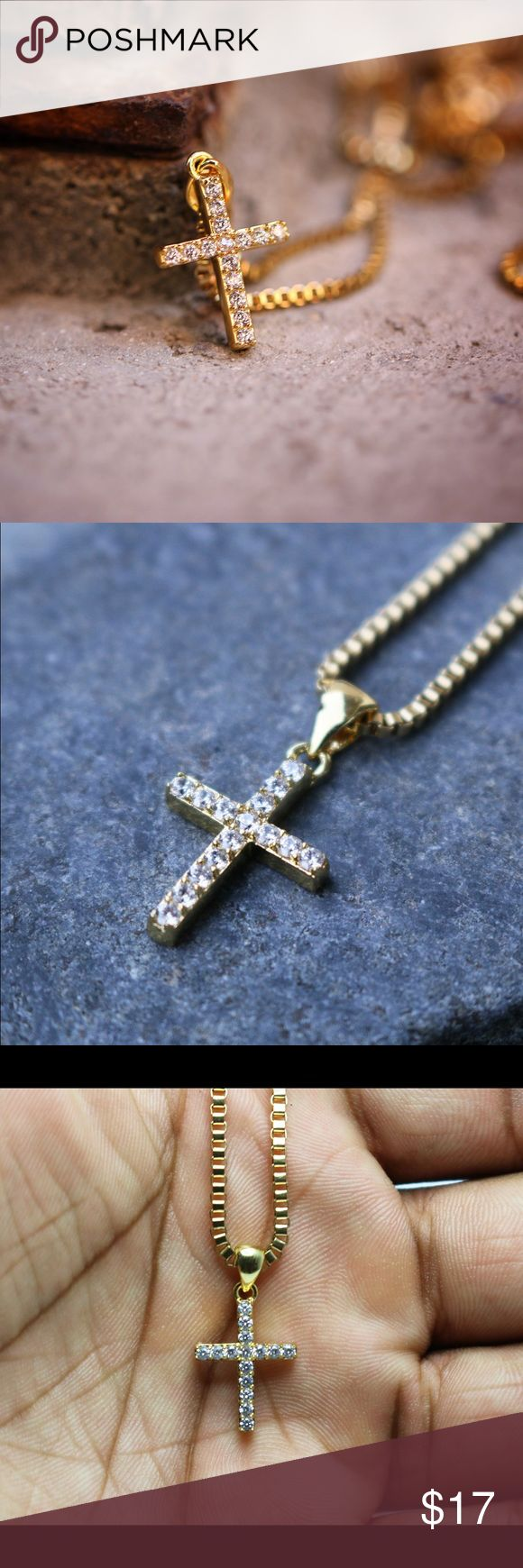 Mini Micro 14K Gold Plated Cross Chain Mini Micro 14K Gold Plated Cross Chain  This cross piece and chain is made of stainless steel with a 14K gold plating on top.Comes with a 20,22,24 or 26 inch 2mm stainless steel 14K Gold Plated box chain.The length of this piece is 10mm (Mini Micro Size). Ts Verniel Jewelry Necklaces