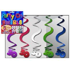 NH30A - Hanging Swirls 30 assorted. Pack of 5 Hanging Swirls 30 Assorted (Blue, Purple, Magenta, Green & Silver) - Pack of 5  Please note; approx. 14 day delivery