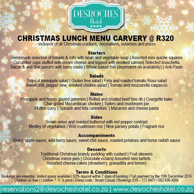 Exclusive #Christmas Carvery #Lunch Menu at #RelishRestaurant for only R320pp – More info on our website. Link in bio. #KZNSouthCoast
