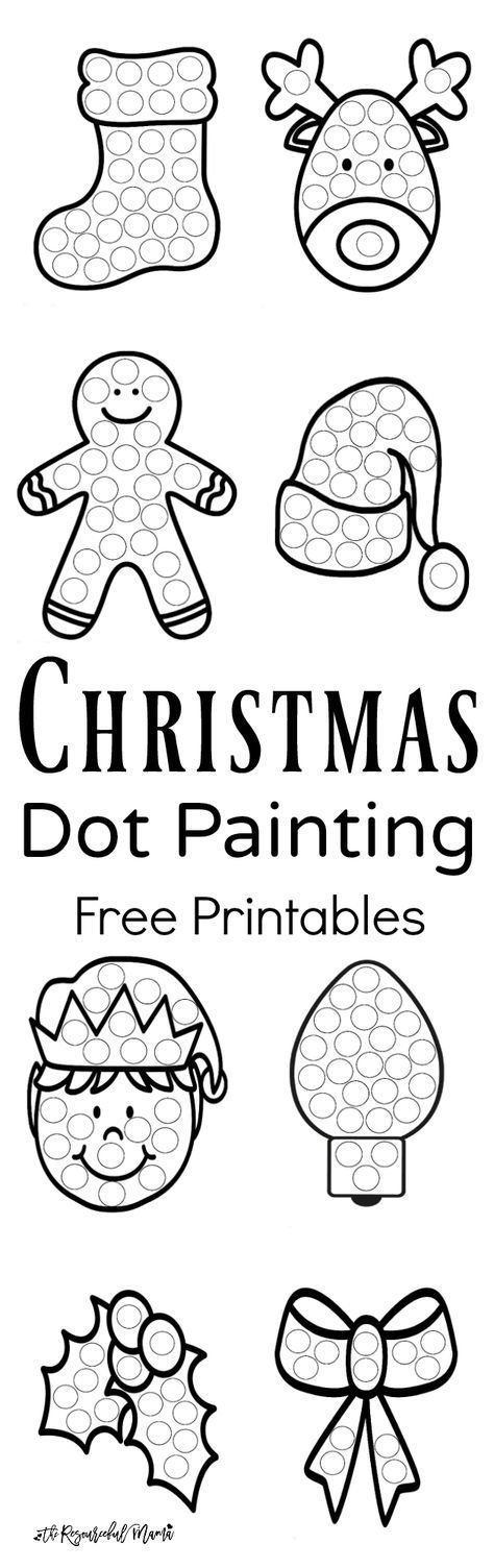 Free printable Christmas dot painting worksheets for kids. These work great with Do a Dot Markers or bingo markers. toddlers | preschoolers | kid activity