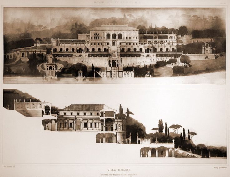 Villa Madama, Rome - architect Raphael - an imagined representation of what the completed villa would have looked like according to Raphael's original ...