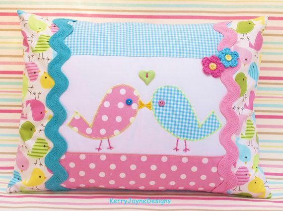 PATCHWORK PILLOW, applique pillow, kissing birdies, love birds, Robert kaufman fabric, spring birdies cushion, KerryJayneDesigns, baby gift.