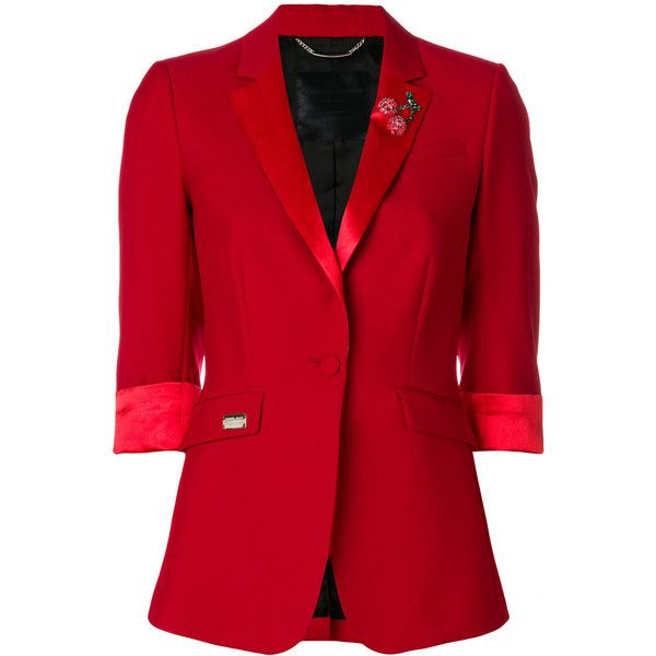 Philipp Plein Jaqueline Castillo blazer ($1,874) ❤ liked on Polyvore featuring outerwear, jackets, blazers, red, red blazer, lapel blazer, 3/4 sleeve blazer, philipp plein jacket and red blazer jacket