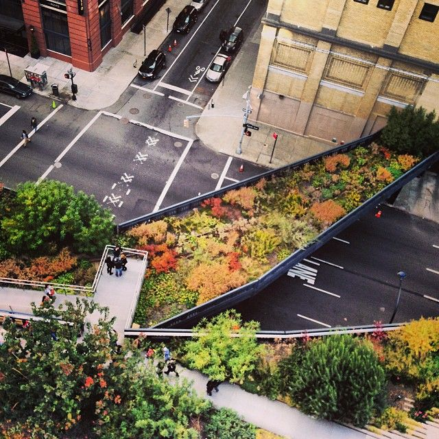 The High Line is an elevated railway transformed into a public park on Manhattan's West Side. The park features lush horticulture, artworks, seasonal food vendors, community programing, and unique views of the Hudson River and New York City skyline. The High Line runs between Gansevoort Street to West 34th Street, between 10th and 11th Avenues.