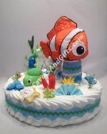 Finding Nemo Diaper Cake, Baby shower gift ideas #FindingNemo #babyshower