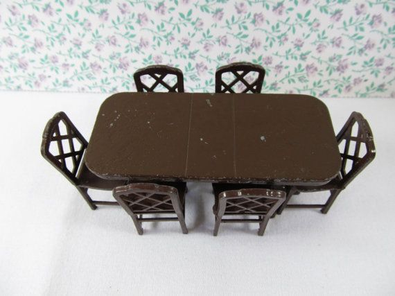 Vintage 1920s Tootsie Toys Dollhouse 7 Piece Dining Room Table And Chair Set Miniature Collectors
