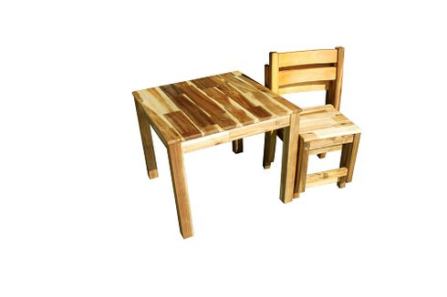 $200 incl shipping QToys - Square Hardwood Deluxe Table & 2 Stacking Chairs Set (Supplier Direct) - I Love Wooden Toys