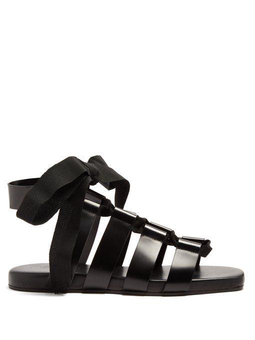 Jil Sander Wraparound gladiator leather sandals