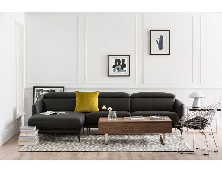 BRUGE - Canapé d'angle gauche en cuir - Noir