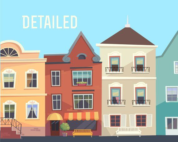 Houses Clipart Set Of Colorful Houses City Clipart House Etsy House Clipart House Illustration House Colors