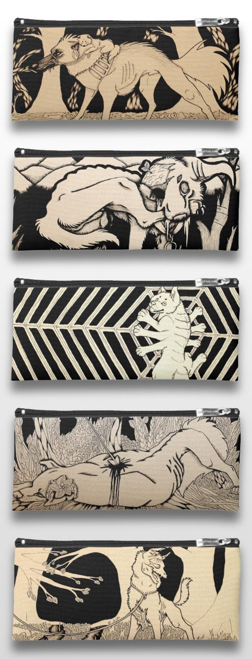 Black and White illustrated dog pencil cases. #art #illustration #products #gifts #drawing #sepia