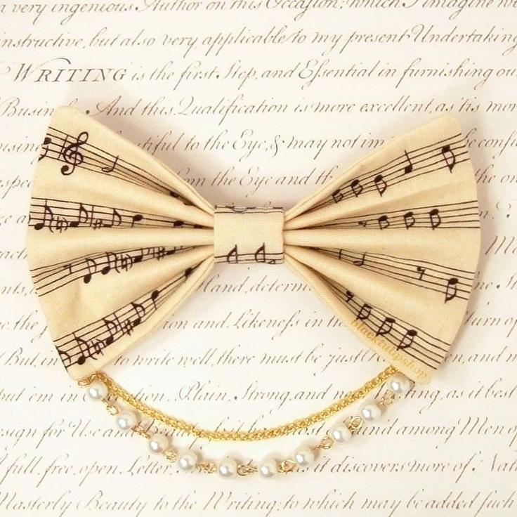 Lolita Fabric Hair Bow Clip Barrette Kawaii Cream Music Sheet Musical notes White Pearls Gold Chain. $10.00, via Etsy.