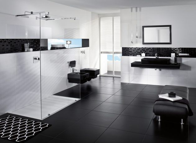 45 best images about badezimmer on pinterest - Bad Schwarz Wei Gefliest