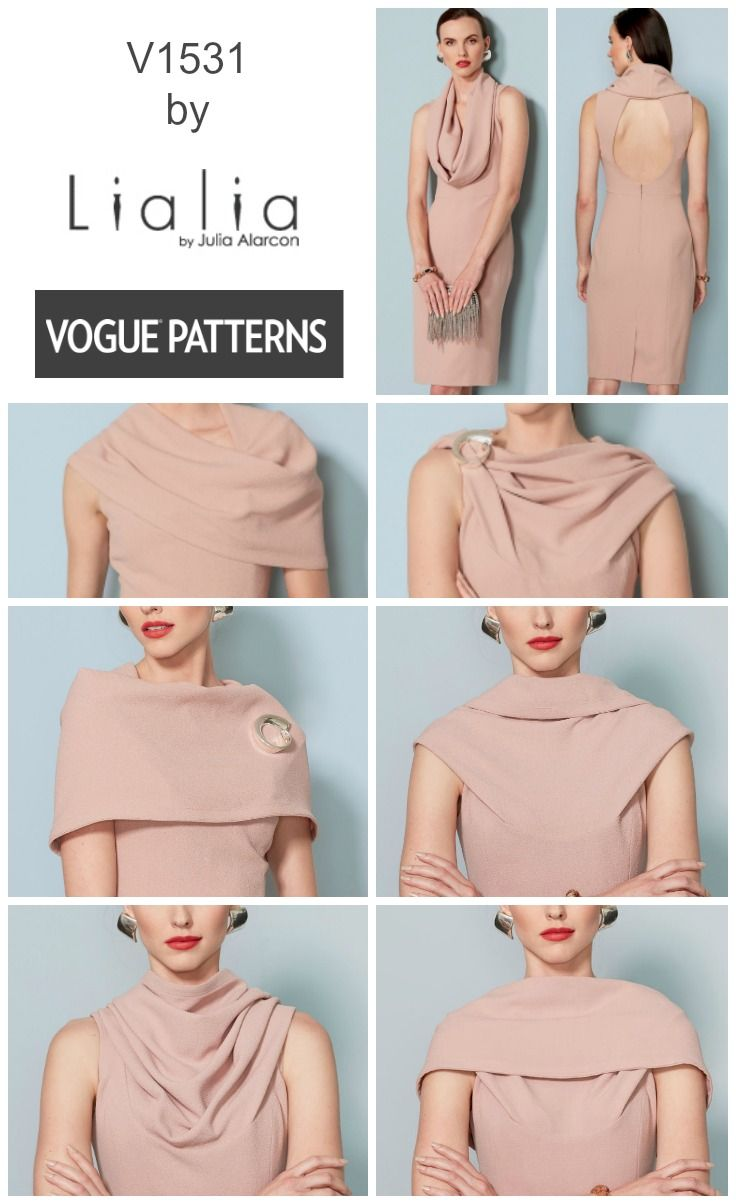This new dress pattern from Lialia for Vogue Patterns features a versatile cowl neck and a sexy cut-out back. V1531 sewing pattern
