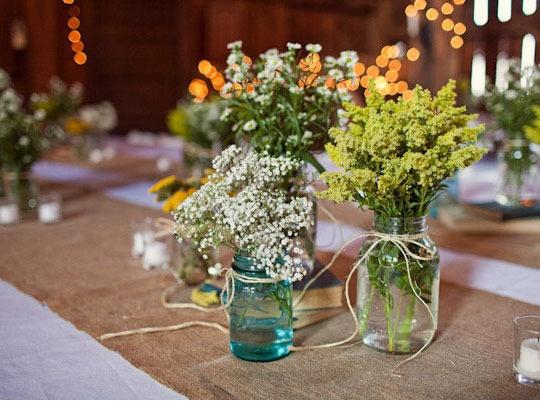 mason jar vases (just add twine): Centerpiece, Table Decoration, Wedding Ideas, Weddings, Mason Jars, Flower
