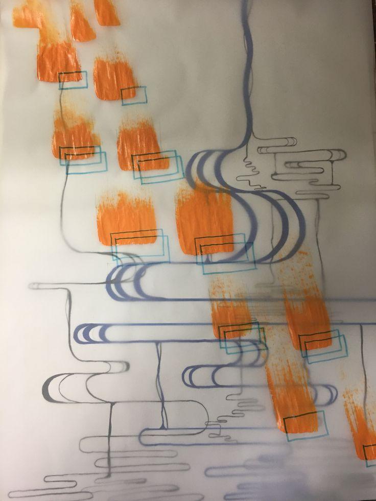 페인트 흐르는 제스쳐 위에 달리는 발바닥의 제스쳐를 오버랩 시켯다.