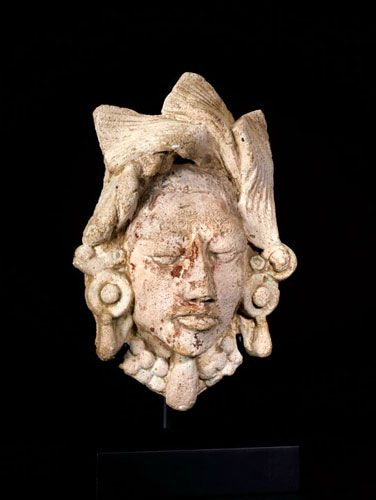 Mayan Late Classic Period Lime Stucco Head  Origin: Mexico Circa: 600 AD to 900 AD