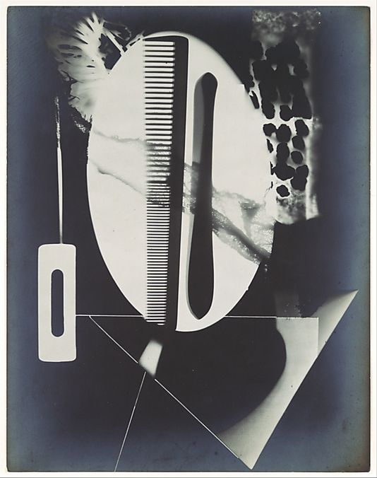 Man Ray (Emmanuel Radnitzky) - Untitled Rayograph (Comb, Straight Razor Blade, Needle and Other Forms) (1922) | The Metropolitan Museum of Art (New York) Surrealisme overlapping the objects makes some opaque that would have originally been transparent