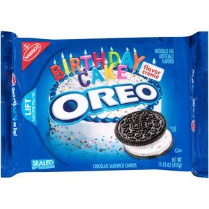 Sco Oreo Birthday Cake Flavor Creme Chocolate Sandwich Cookies 15 25 Oz