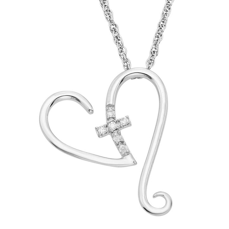 "Diamond Accent Sterling Silver Heart & Cross Pendant Necklace, Women's, Size: 18"", White"