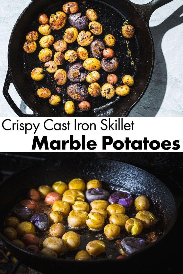 Cast Iron Skillet Marble Potatoes Recipe Potato Recipes Side Dishes Steak Side Dishes Steak Sides