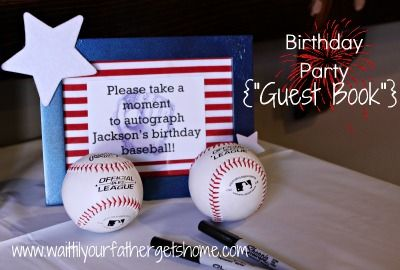 """All-American Birthday Party """"guest book""""-autographed baseballs from Wait Til Your Father Gets Home"""