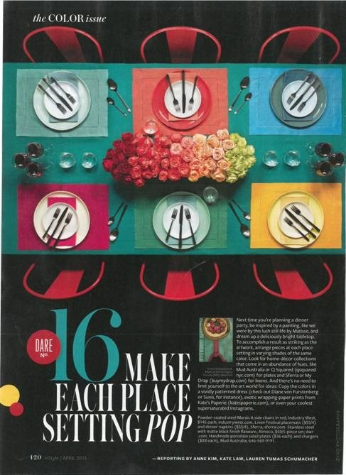 InStyle Magazine press clip, May 2013, page 420 features a gorgeous shot of some of our #101colors of Festival European-woven #tablelinens