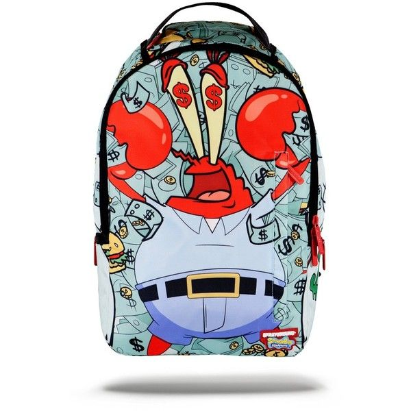 Sprayground x Money Crabs Backpack ($64) ❤ liked on Polyvore featuring bags, backpacks, chain bag, blue bag, rucksack bag, backpacks bags and knapsack bags