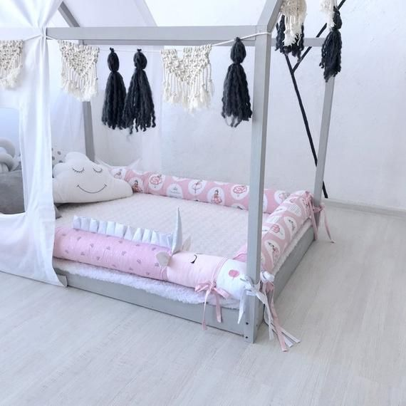 Wood Frame House Bed Montessori Bed Unicorn Bumper House Bed