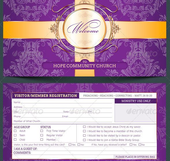 Church Visitor Registration Card Template Church Pinterest - guest card template