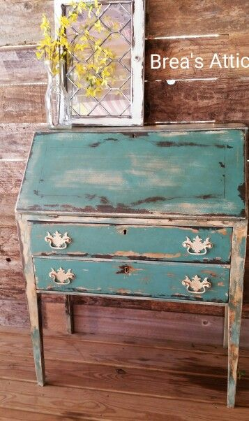 turquoise painted furniture ideas. Painted Antique Secretary. Turquoise, White, Brown And Antiqued. Highly Distressed. Turquoise Furniture Ideas