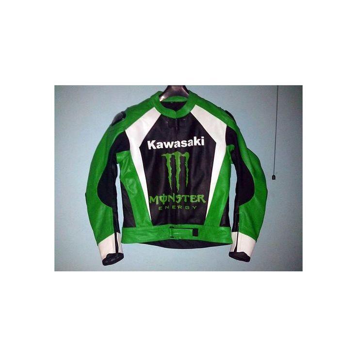 Kawasaki ninja premium cowhide leather mens leather racers jacket  jacketsaturn.com