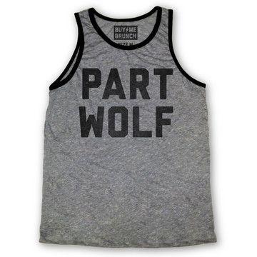 Buy Me Brunch: Part Wolf Tank Men's Gray