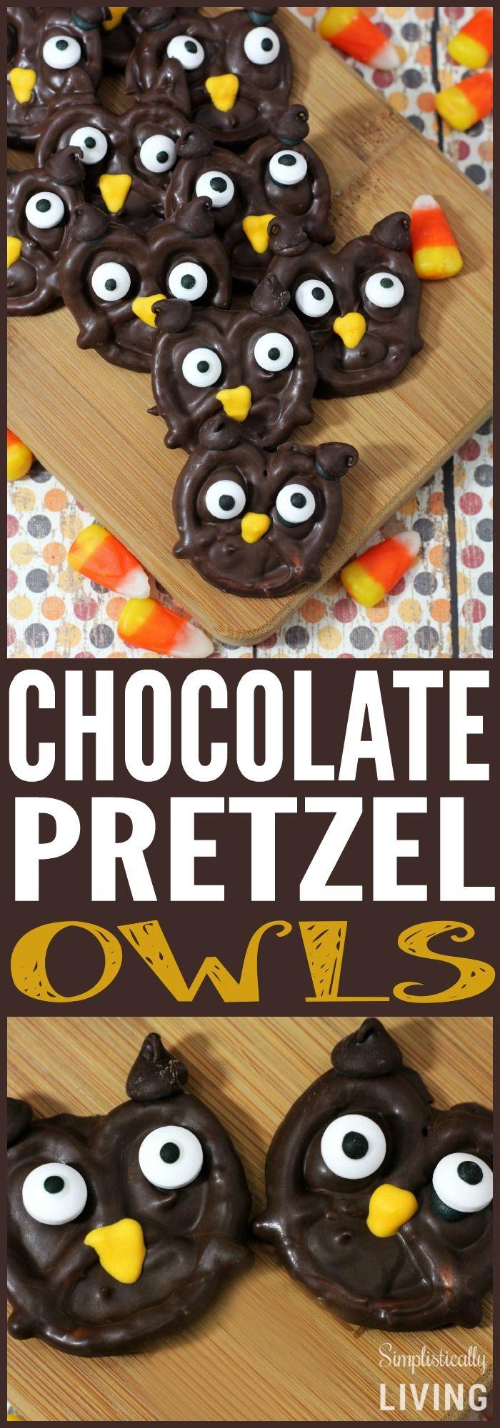 Chocolate Pretzel Owls Simplistically Living