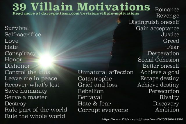 "39 Villain Motivations (Evil for the sake of being evil does not a compelling villain make. always remember that black and white are never so certain; what is bad for one person can be good for another. villainy depends more on perspective than much else; your ""villain"" will not see themselves as such. they'll see your ""hero"" as the ""villain"". And vice versa, of course."