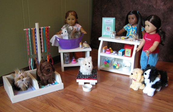 American Girl Doll Pampered Pet Shop Set - Pet Shop Counter Display / Grooming Table / Double Pet Kennel / Collar & Leash Display Hanger on Etsy, $200.00