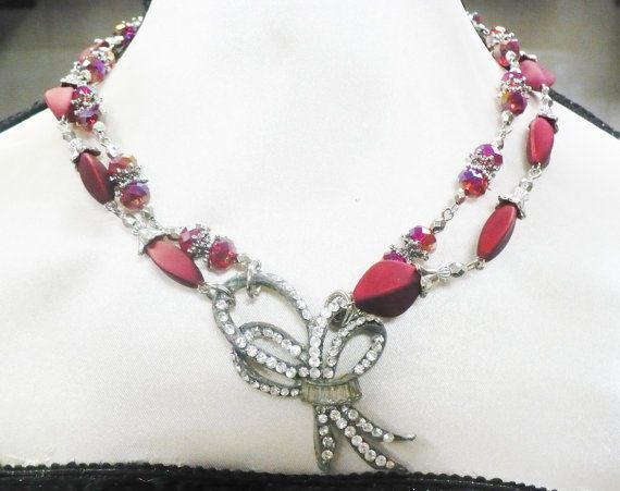Vintage Authentic 1920s Rhinestone Art Deco Red Bead Necklace-silver tone-Gatsby