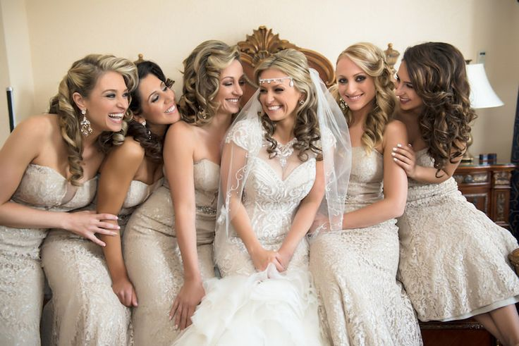 Bride and Bridesmaids on Wedding Day   Tan Lace Bridesmaids Dresses