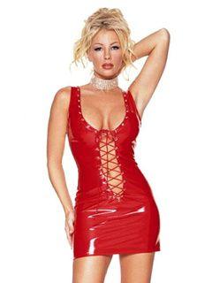 Sexy Club Dress 2019 Red U Neck Sleeveless Lace Up PU Bodycon Dress