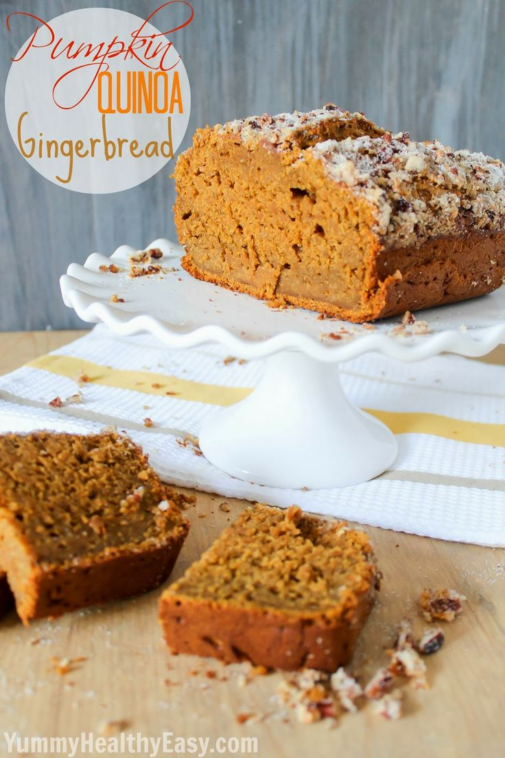 Pumpkin Quinoa Gingerbread - pumpkin bread and gingerbread combined with the addition of quinoa to make it moist and healthier! #pumpkin #gingerbread #fall via YummyHealthyEasy.com