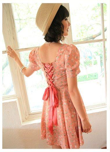 Baju Import Dress DS3128-AS+Ribbon Pink