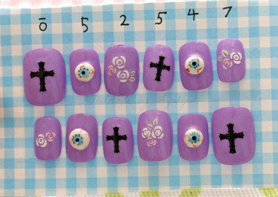 Pastel goth, 3D nail art, cross, eyeballs, creepy kawaii ...