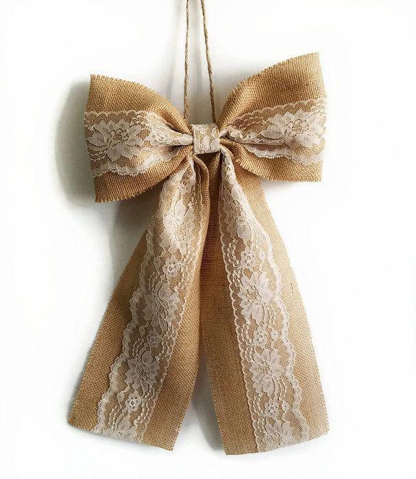 Pew Bows Burlap and Lace Bow Rustic Wedding Decor Burlap