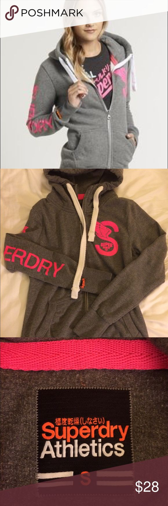 SuperDry Athletic Full-zip Jacket Hooded in great condition, only letters on sleeve are slightly cracked (shown in picture). size small. Superdry Tops Sweatshirts & Hoodies