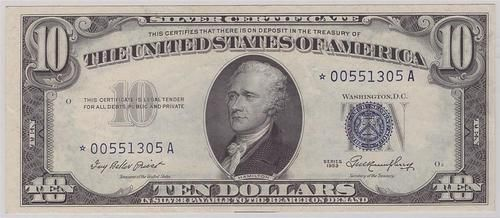 1953 $10 STAR SILVER CERTIFICATE FR-1706* EF45+    Serial # *00551305A  Priest / Humphrey    A nice clean, accurately graded note, with no impairments, and excellent overall eye appeal.Only 576,000 printed, scarce in high grade, catalog value= $250.+