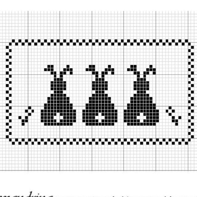 three bunnies cross stitch; plakken met vierkantjes verfstalen; denk ook aan blokjesboek van Thea van Mierlo